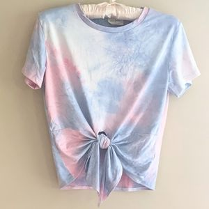 Tie-dyed Cropped Tie-front Tee by Free Kisses
